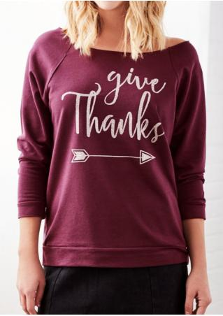 Give Thanks Arrow Printed Sweatshirt