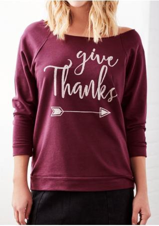 Give Thanks Arrow Printed Sweatshirt