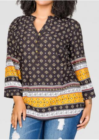 Ethnic Printed Button Plus Size Blouse