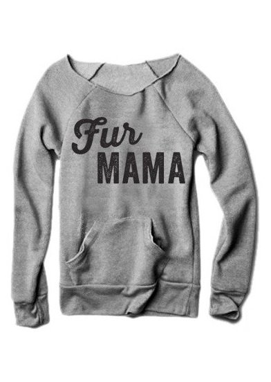 Fur MAMA Printed Kangaroo Pocket Sweatshirt