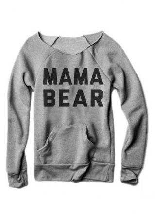MAMA BEAR Printed Kangaroo Pocket Sweatshirt