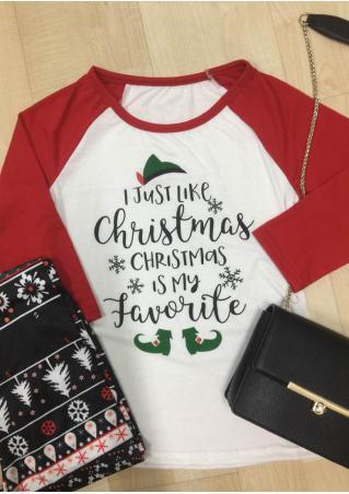 Christmas Letter Printed Three Quarter Sleeve Splicing T-Shirt Christmas