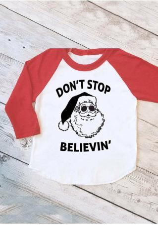 Christmas Santa Claus Letter Printed Splicing T-Shirt Christmas