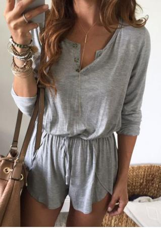 Solid Botton Long Sleeve Romper Solid