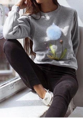 Pompon Printed Long Sleeve Sweatshirt