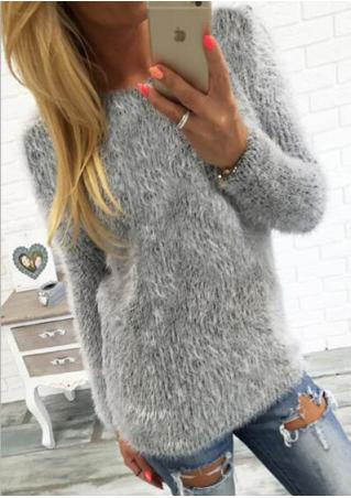 Solid O-Neck Long Sleeve Thin Sweater