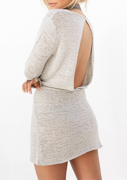 Knitted Hollow Out Mini Dress Without Necklace 24947