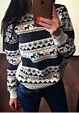 Christmas Reindeer Printed Long Sleeve Sweatshirt