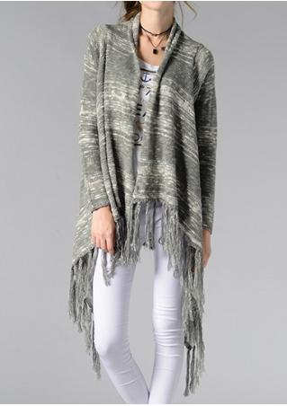 Striped Printed Tassel Splicing Cardigan