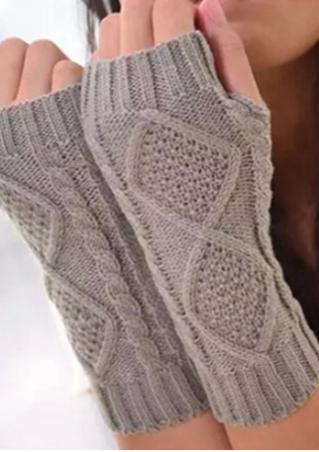 Solid  Knitted Fingerless Gloves Solid