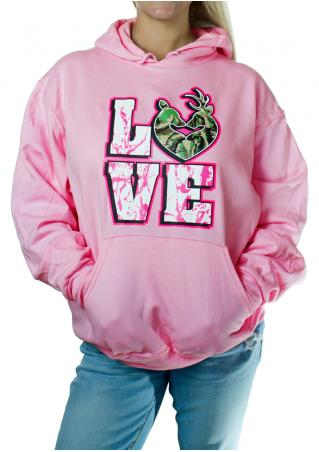 LOVE Printed Kangaroo Pocket Long Sleeve Hoodie