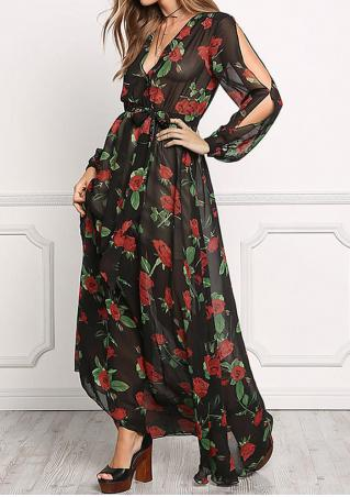 Floral Printed Hollow Out Maxi Dress