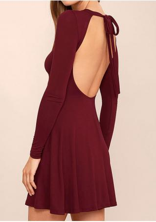 Solid Backless Long Sleeve Dress Solid