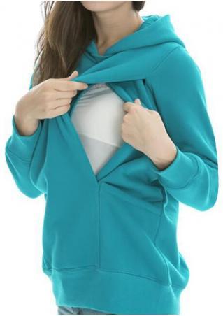 Solid Pocket Long Sleeve Hoodie