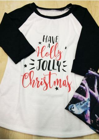 Christmas Holly Printed Splicing T-Shirt Christmas