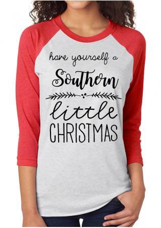 Christmas Letter Printed O-Neck Splicing T-Shirt Christmas