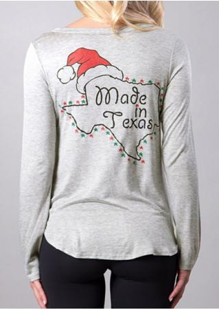 Christmas Hat Made In Texas Printed T-Shirt Christmas