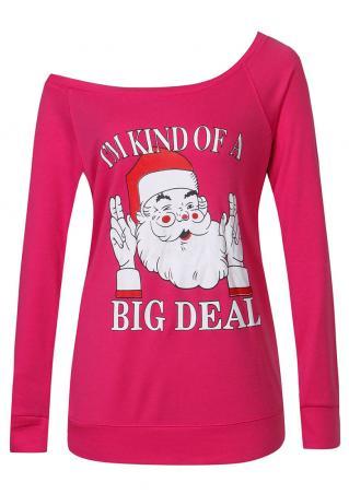 Christmas Santa Claus Letter Printed Sweatshirt