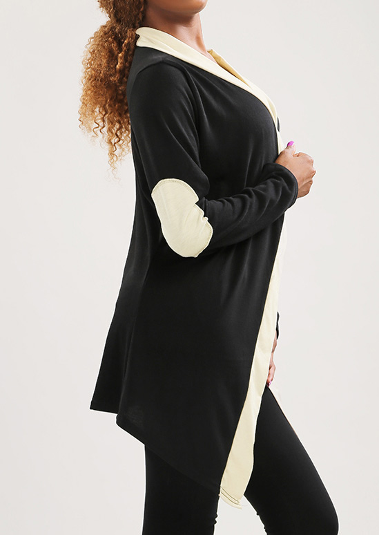 Image of Asymmetric Elbow Patch Splicing Knitted Cardigan