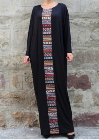Printed Splicing Batwing Sleeve Maxi Dress