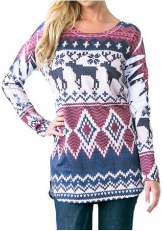Christmas Reindeer Snowflake Printed Long sleeve Blouse