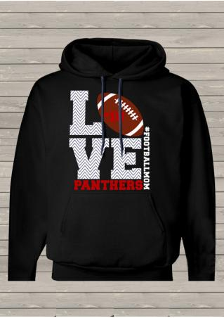 Letter Football Printed Kangaroo Pocket Long Sleeve Hoodie