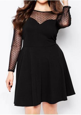Mesh Splicing Black Mini Dress