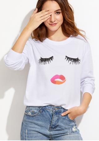 Eyelash Lips Printed Long Sleeve Sweatshirt