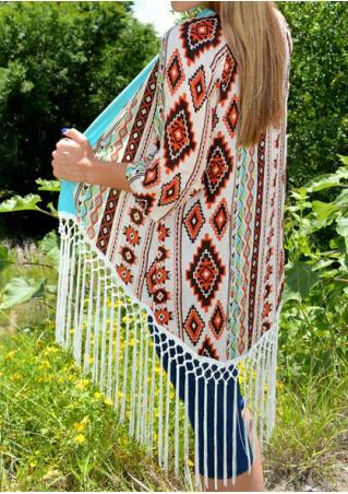 Geometic Printed Tassel Splicing Cardigan