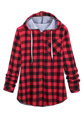 Plaid Printed Front Pocket Shirt With Hood