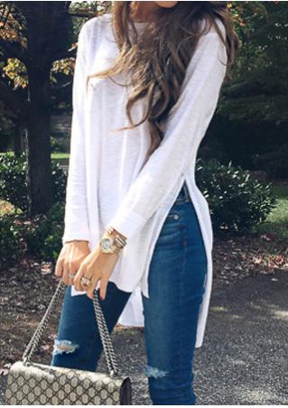 Solid Asymmetric Long Sleeve Casual Blouse