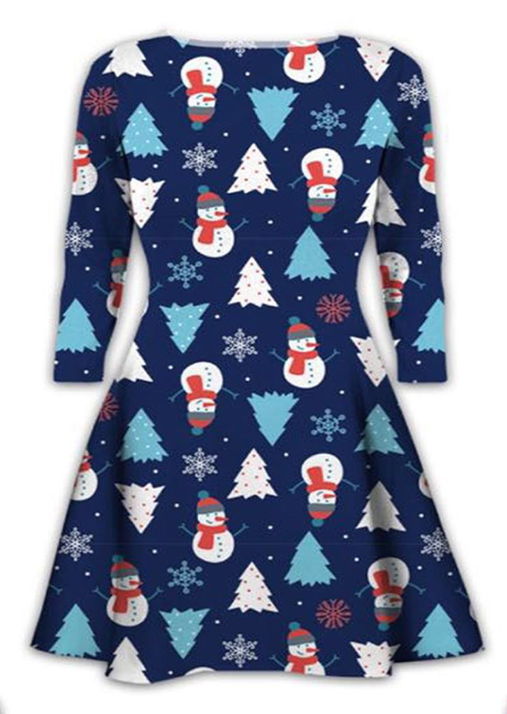 Christmas Snowman Tree Printed Mini Dress