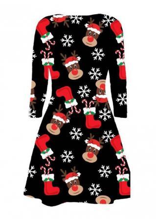 Christmas Reindeer Boots Printed Mini Dress