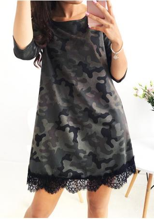 Camouflage Printed Lace Splicing O-Neck Dress Camouflage