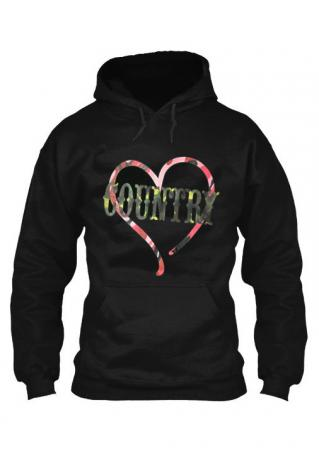 COUNTRY Printed Kangaroo Pocket Long Sleeve Hoodie