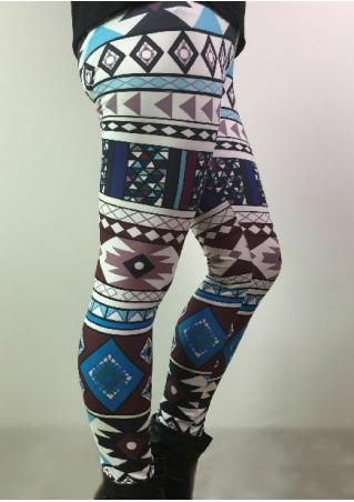 Geometric Printed Stretchy Skinny Leggings