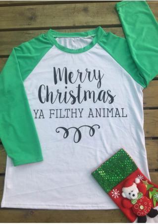 Merry Christmas Printed Splicing T-Shirt