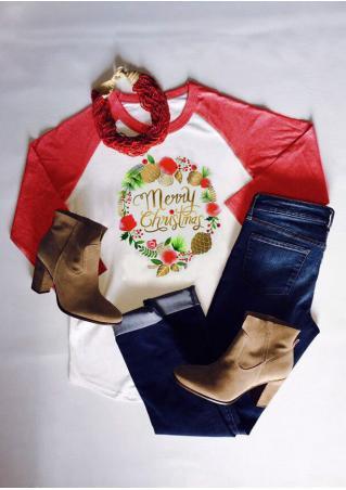Christmas Letter Printed Splicing O-Neck Fashion T-Shirt Christmas