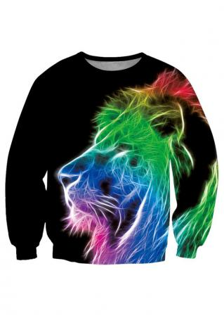 Lion Printed Long Sleeve Sweatshirt