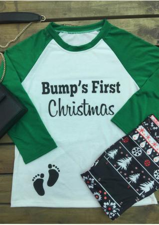 Christmas Bump's First Printed Splicing O-Neck T-Shirt Christmas