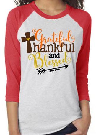 Thankful Letter Arrow Printed Splicing T Shirt Fairyseason