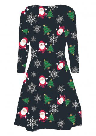 Christmas Santa Claus Snowflake Printed Casual Dress