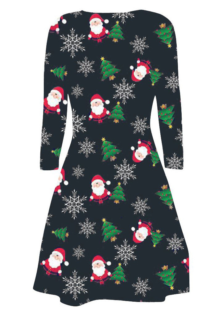 Christmas santa claus snowflake printed casual dress