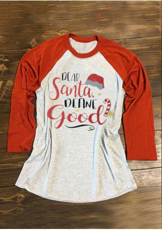 Christmas Hat Letter Printed Splicing O-Neck T-Shirt Christmas