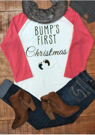 BUMP'S FIRST Christmas Printed Splicing T-Shirt BUMP'S