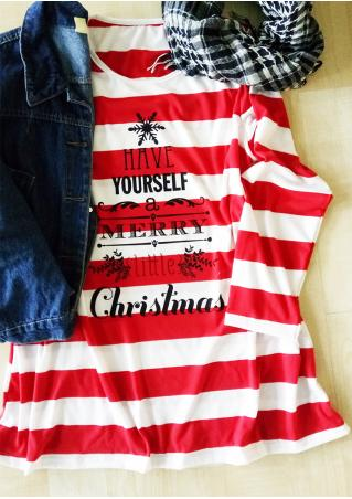 Christmas Letter Printed Striped O-Neck T-Shirt