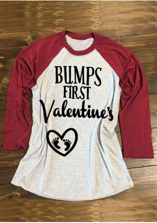 BUMPS FIRST Valentine's Printed Splicing T-Shirt BUMPS