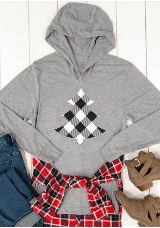 Christmas Plaid Tree Printed Hoodie