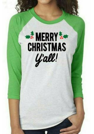 MERRY CHRISTMAS printed Casual T-Shirt