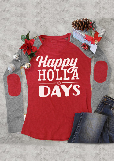 Happy Holla Days Printed Elbow Patch Splicing T Shirt